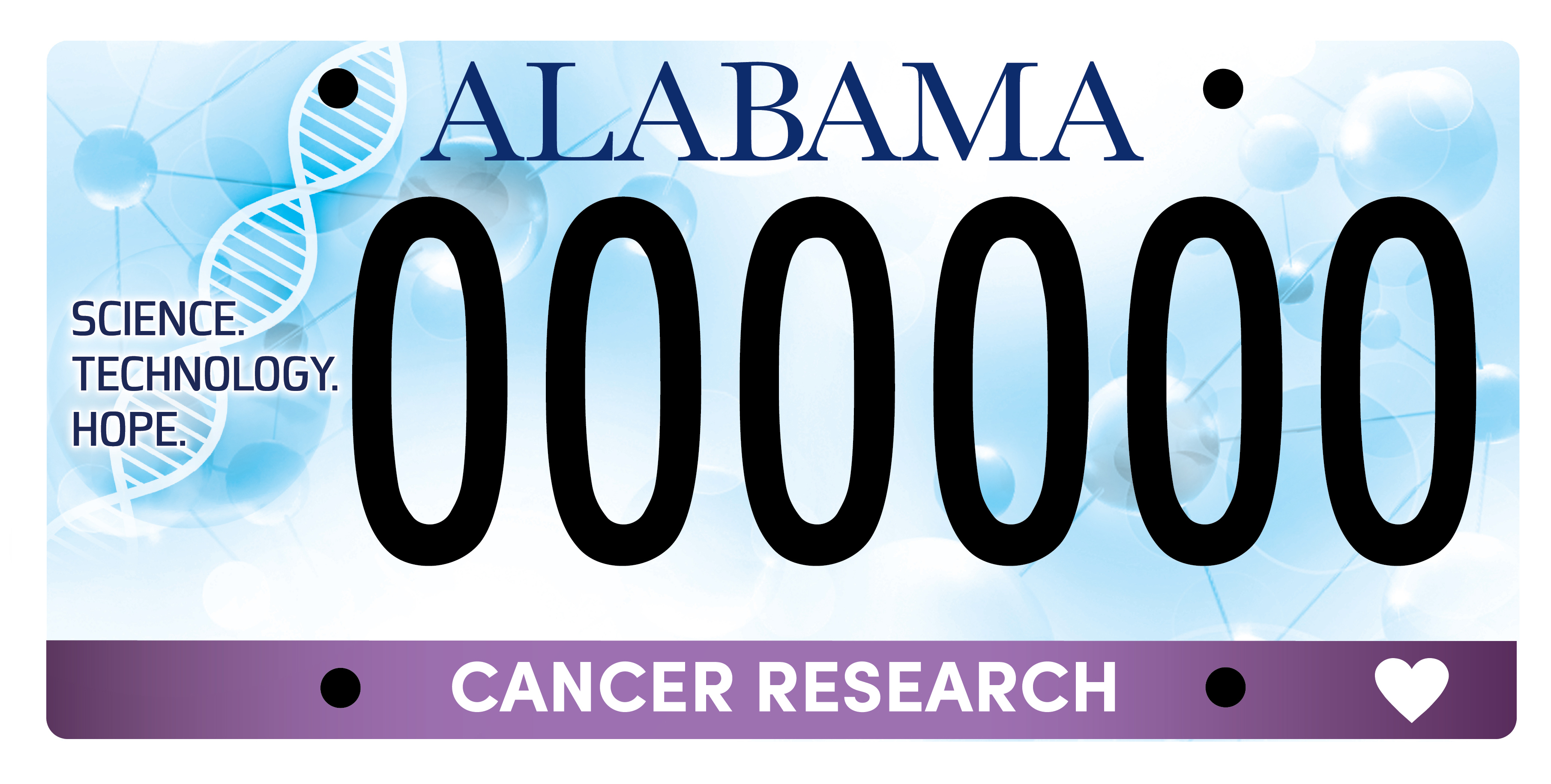 Cancer Research Alabama License Tag